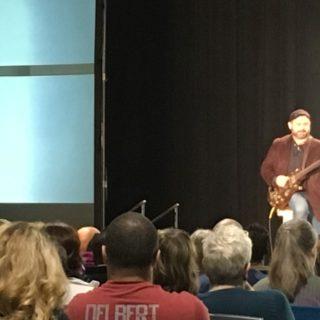Kevin Honeycutt playing steampunk guitar