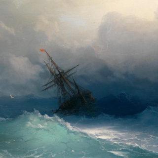 Ship in Stormy Sea by Ivan Konstantinovich Aivazovsky